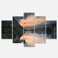 Designart 'Stunning Sunrise over Lake Panorama' Large Landscape Art Glossy Metal Wall Art