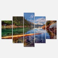 Designart 'Floating Lake in Mountain Lake' Large Landscape Art Glossy Metal Wall Art