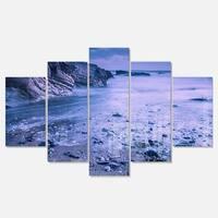 Designart 'Calm Time Lapse on Beach at Sunset' Large Seashore Glossy Metal Wall Art