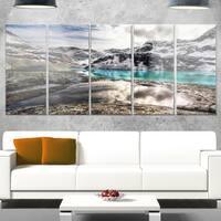 Designart 'Mountain Creek under Cloudy Sky' Large Landscape Art Glossy Metal Wall Art