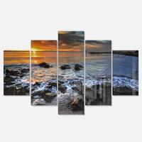 Designart 'Sunset over Rocky Ocean Shore' Large Landscape Art Glossy Metal Wall Art