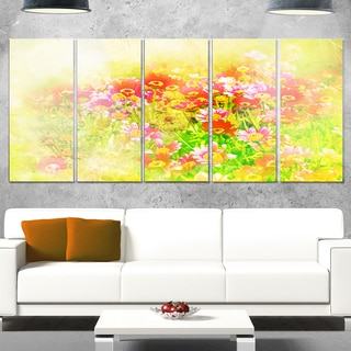 Designart 'Colorful Spring Garden with Flowers' Large Floral Glossy Metal Wall Artwork