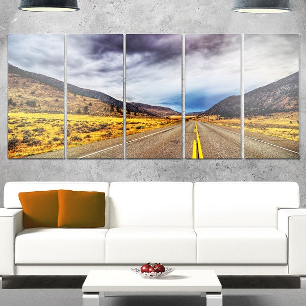 Designart 'Mountain Desert Highway British Columbia' Extra Large Landscape Glossy Metal Wall Art