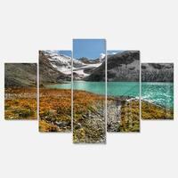 Designart 'Crystal Clear Lake among Mountains' Landscape Artwork Glossy Metal Wall Art