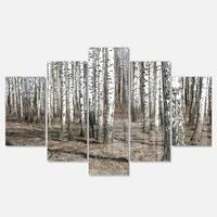 Designart 'Beautiful Dense Birch Forest View' Modern Forest Glossy Metal Wall Art