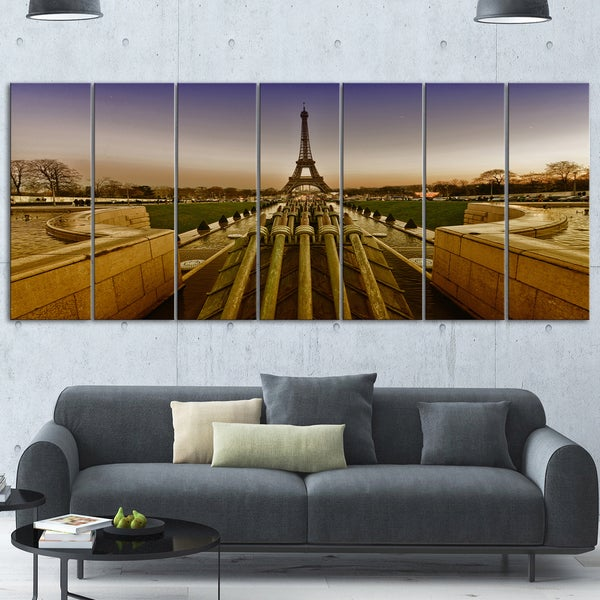 Designart 'Beautiful View of Eiffel Tower' Large Landscape Art Glossy Metal Wall Art
