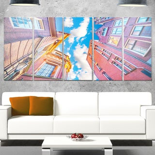 Designart 'Authentic Dutch Architecture' Extra Large Cityscape Glossy Metal Wall Art