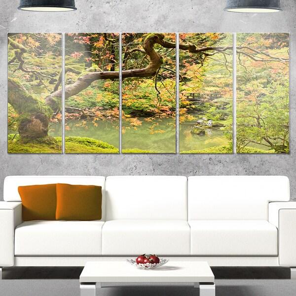 Designart \'Japanese Garden Fall Season\' Large Landscape Glossy Metal ...