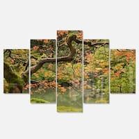Designart 'Japanese Garden Fall Season' Large Landscape Glossy Metal Wall Art