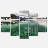 Designart 'Crystal Clear Lake and Mountains' Extra Large Landscape Glossy Metal Wall Art