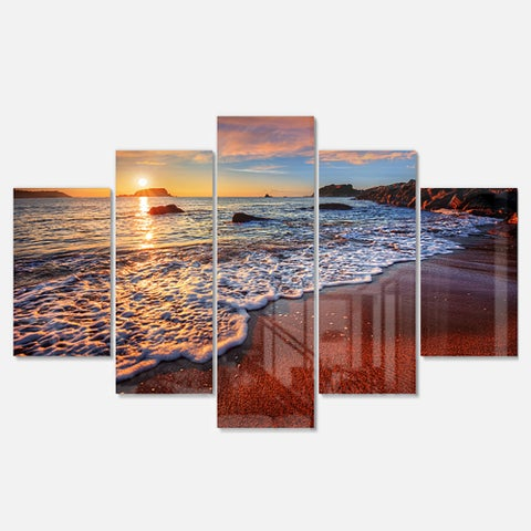 Designart 'Stunning Ocean Beach at Sunset' Seashore Metal Wall Art on