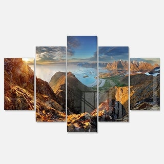 Designart 'Ocean and Mountains Panorama' Large Landscape Glossy Metal Wall Art