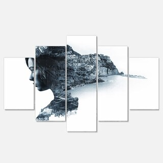 Designart 'Woman Portrait Double Exposure' Modern Portrait Glossy Metal Wall Art