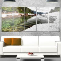 Designart 'Crystal Clear Lake with Pine Trees' Extra Large Landscape Glossy Metal Wall Art