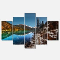 Designart 'Blue Clear Lake with Mountains' Extra Large Landscape Glossy Metal Wall Art