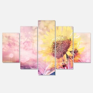 Designart 'Sunflower With Rainbow Light Effect' Modern Floral Metal Wall Art