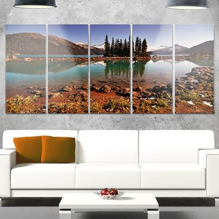 Designart 'Lake and Pine Trees in Evening' Extra Large Landscape Glossy Metal Wall Art