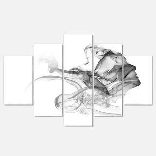 Designart 'Woman and Smoke Double Exposure' Modern Portrait Glossy Metal Wall Art
