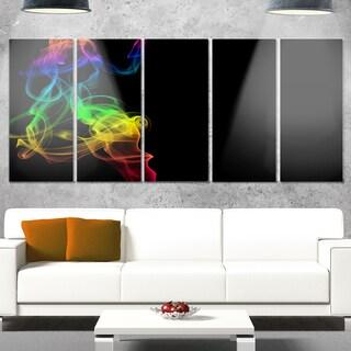 Designart 'Colorful Abstract Smoke Waves' Large Abstract Glossy Metal Wall Art