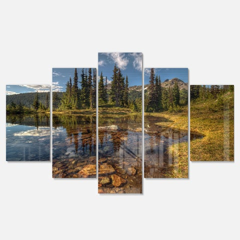 Designart 'Bright Clear Day and Clear Lake' Extra Large Landscape Glossy Metal Wall Art