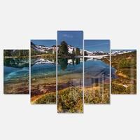 Designart 'Curving Mountain Lake Shore' Extra Large Landscape Glossy Metal Wall Art