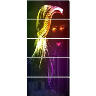 Designart 'Illuminating Girl's Head Fractal' Modern Portrait Glossy Metal Wall Art