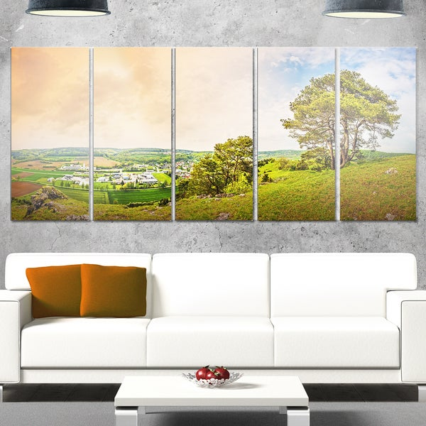 Designart 'Mountains in Germany Panorama' Large Landscape Art Glossy Metal Wall Art