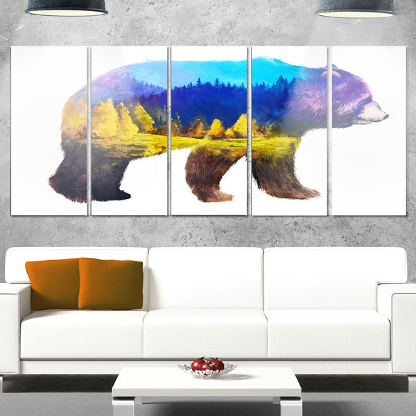 Designart 'Bear Double Exposure Illustration' Large Animal Metal Wall Art