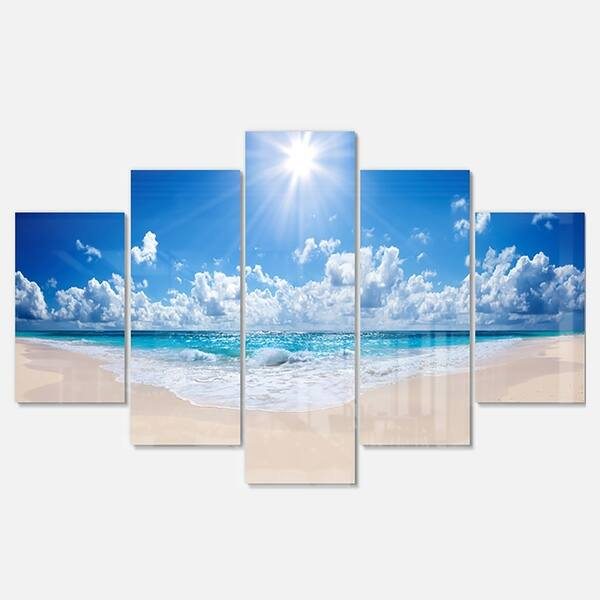Designart Beautiful Tropical Beach Panorama Modern Seashore Glossy Metal Wall Art On Sale Overstock 13966405