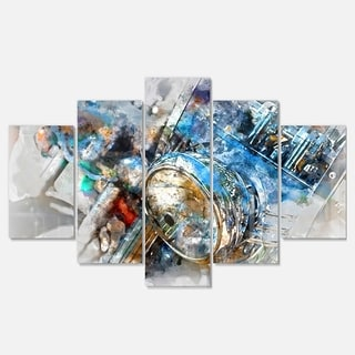 Designart 'Motorcycle Headlight Watercolor' Modern Metal Wall Art