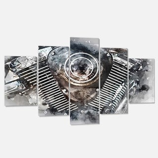 Designart 'Motorcycle Engine Watercolor' Modern Metal Wall Art
