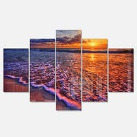 Designart 'Colorful Sunset and Wavy Waters' Seashore Metal Wall Art on