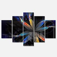 Designart 'Abstract Fractal Flower on Black' Floral Glossy Metal Wall Art