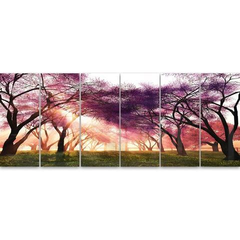 Designart 'Cherry Blossoms Japan Garden' Landscape Metal Wall Art