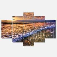 Designart 'Beautiful Sunset with White Waters' Seashore Metal Wall Art on