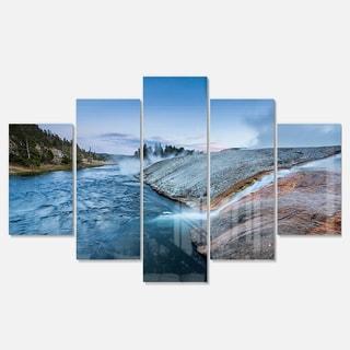 Designart 'Midway Geyser Basin In Yellowstone' Seashore Metal Wall Art on