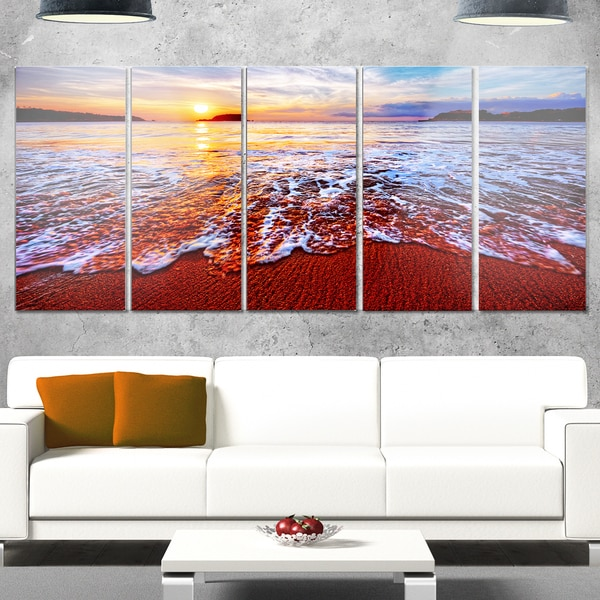 Designart 'Colorful Sunset with Bright Waters' Seashore Metal Wall Art on