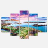 Designart 'Sunset from the Giallonardo Beach' Landscape Artwork Glossy Metal Wall Art