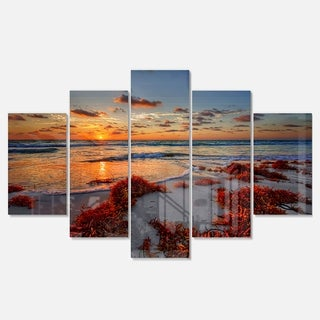 Designart 'Beautiful Shore and Cloudy Sky' Extra Large Landscape Glossy Metal Wall Art