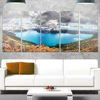 Designart 'Lake Surrounded by Mountains' Extra Large Landscape Glossy Metal Wall Art