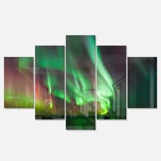 Designart 'Green Northern Lights Aurora' Large Abstract Glossy Metal Wall Art