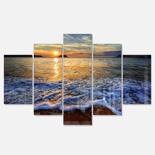 Designart 'Peaceful Sandy Beach with Waves' Extra Large Cityscape Glossy Metal Wall Art