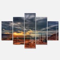 Designart 'Beautiful Sunrise in Osoyoos' Extra Large Landscape Glossy Metal Wall Art
