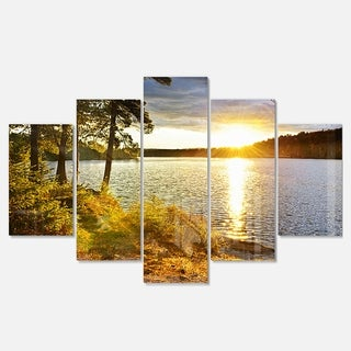 Designart 'Beautiful View of Sunset over Lake' Landscape Metal Wall Art