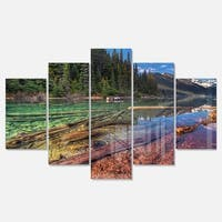 Designart 'Beautiful View of Mountain Lake' Extra Large Landscape Glossy Metal Wall Art