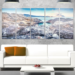 Designart 'Rocky Reservoir in Monte Cofano' Large Landscape Art Glossy Metal Wall Art