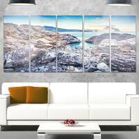 Designart 'Rocky Reservoir in Monte Cofano' Large Landscape Art Glossy Metal Wall Art
