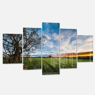 Designart 'Green Pasture under Blue Sky' Extra Large Landscape Glossy Metal Wall Art