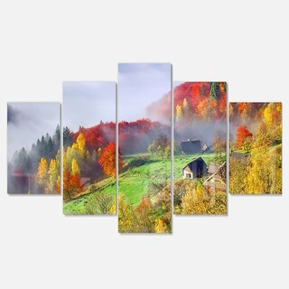 Designart 'Colorful Autumn Landscape in Mountains' Large Landscape Art Glossy Metal Wall Art