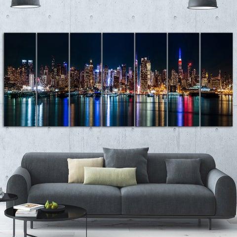 Designart 'New York Midtown Night Panorama' Extra Large Cityscape Glossy Metal Wall Art